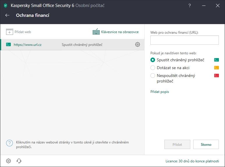 Kaspersky Small Office Security: zabezpečený prohlížeč můžete spouštět jen na požadovaných webech