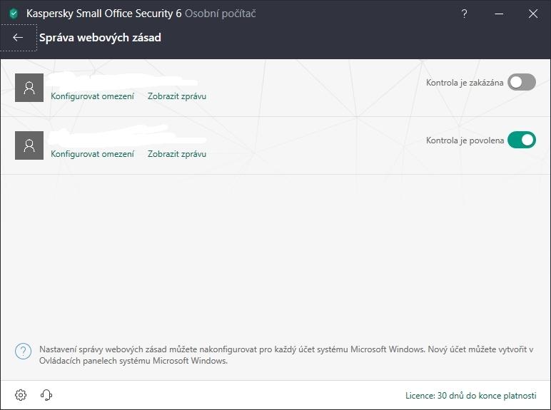 Kaspersky Small Office Security: správa webových zásad u jednotlivých uživatelů