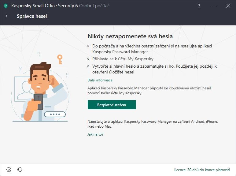 Kaspersky Small Office Security nabízí přiinstalování klíčenky Kaspersky Password Manager
