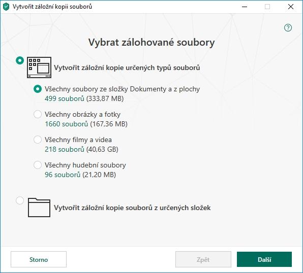 Kaspersky Small Office Security rovnou nabízí možné cíle zálohy