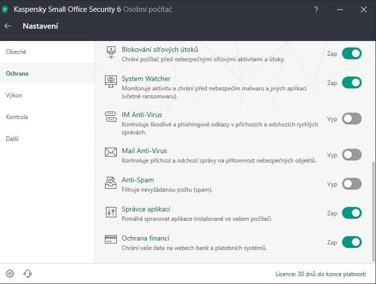 Kaspersky Small Office Security: konfigurace nastavují způsobem NE, ANO - a když ANO, tak můžeš upřesnit JAK