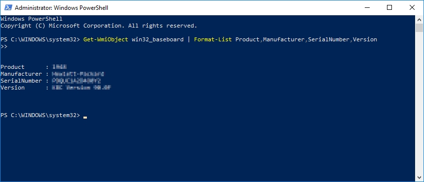 V modrých barvách ztracení profesionální uživatelé a spravovatelé Windows zjistí informace o základní desce pomocí nástroje Windows PowerShell