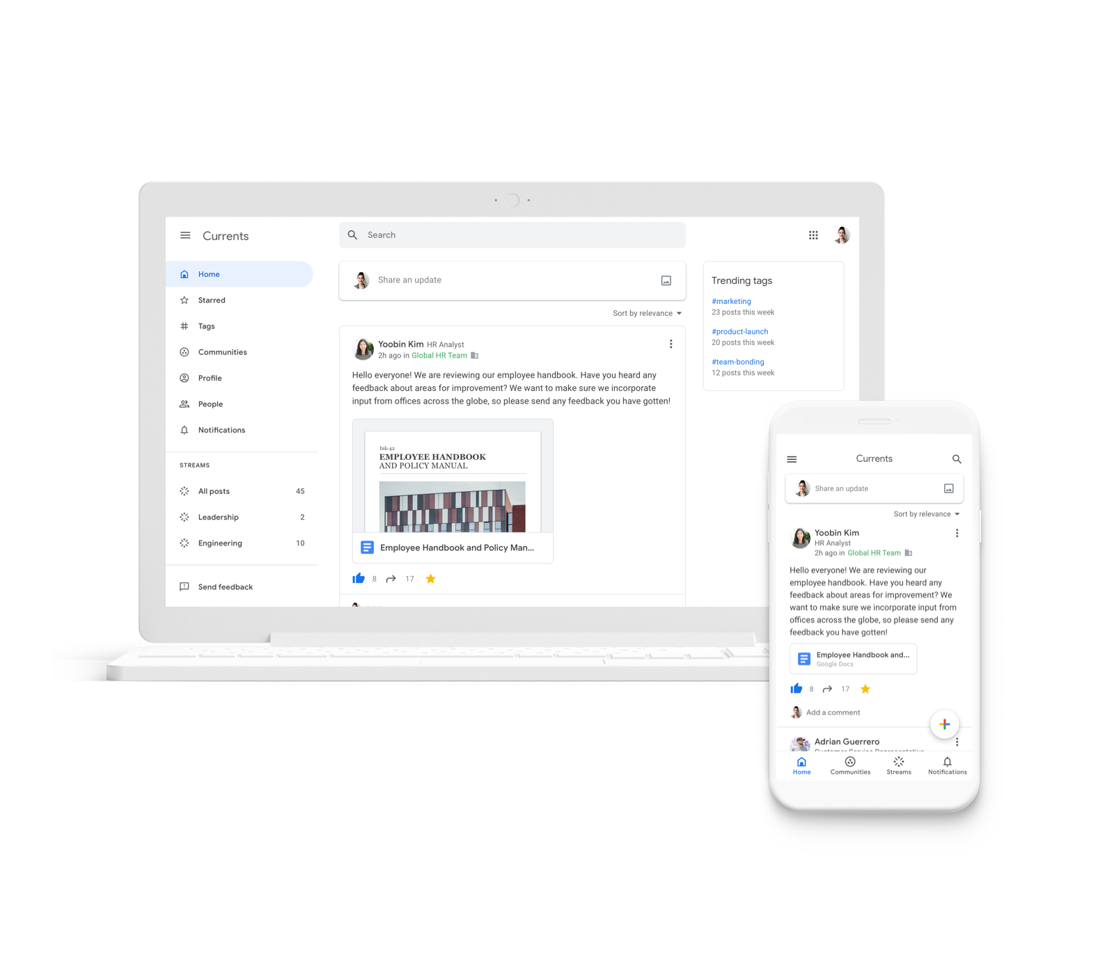 Google Currents: na desktopu i na mobilu (Zdroj: Google.com)