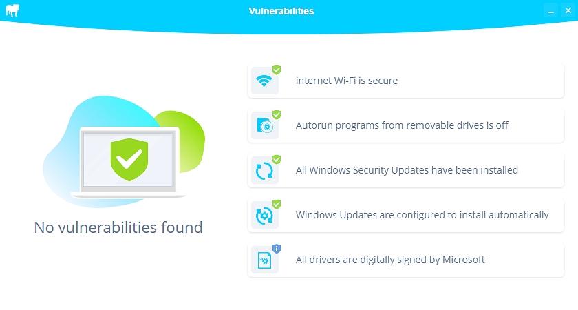 BullGuard Antivirus zkontroluje několik klíčových prvků zabezpečení operačního systému