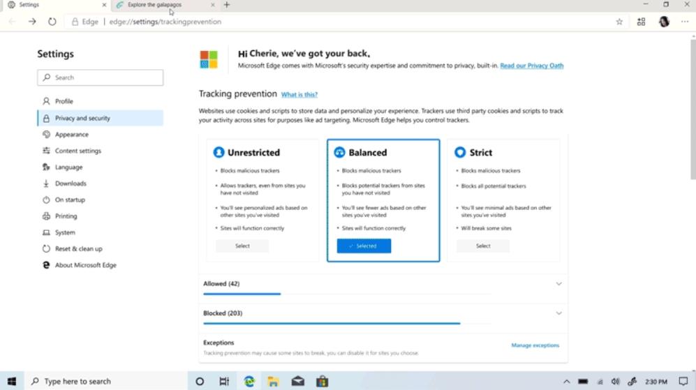 Zjednodušené možnosti nastavení soukromí prohlížeče Microsoft Edge (Zdroj: Microsoft Edge Blog)