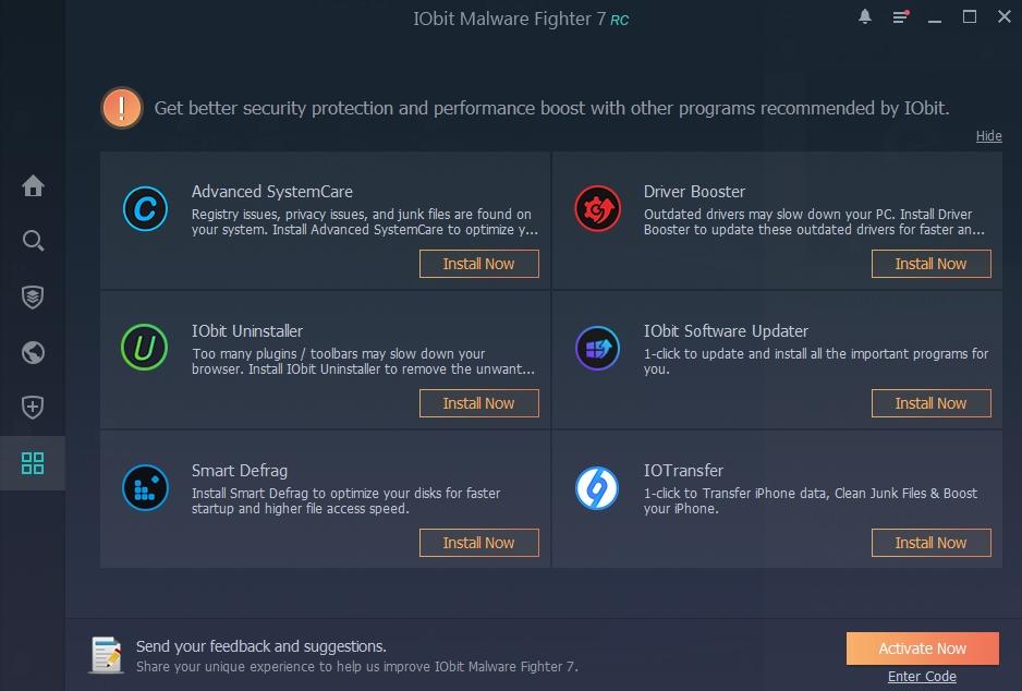 Akční centrum IObit Malware Fighter 7 je jen rozcestníkem směřujícím k dalším aplikacím od IObitu