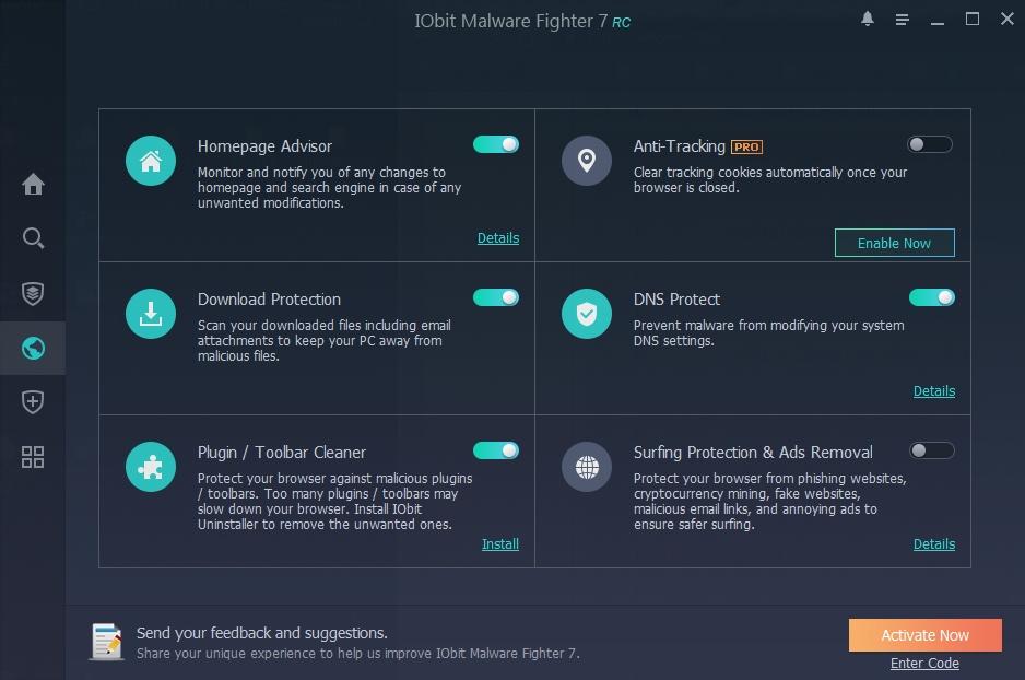 IObit Malware Fighter 7: několik základních funkcionalit ochrany internetového brouzdání