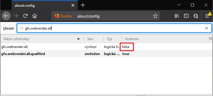 Nastavení WebRenderu: about:config - gfx.webrender.all - Hodnota na true - restartovat Firefox