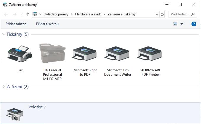 Výpis nainstalovaných tiskáren v Ovládacích panelech - Zařízení a tiskárny