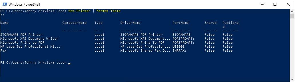 Výpis nainstalovaných tiskáren ve Windows PowerShell