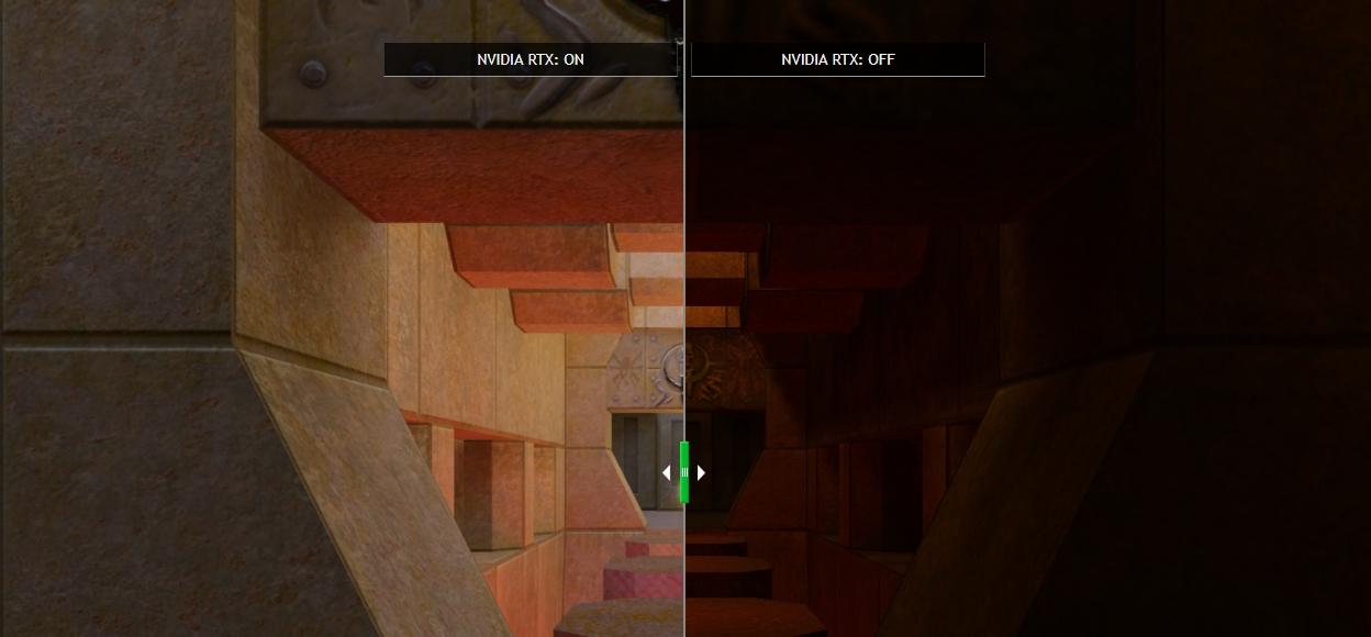 RTX zapnuto - a vypnuto. Real-Time Ray Tracing a OpenGL a rozdíl v podání světelné scény (Zdroj: nvidia.com)