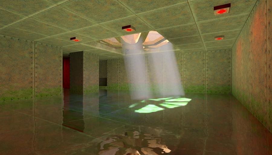 Světelné sloupce vč. základen na nerovném povrchu a jejich světelný odraz v blízké vodní hladině (Zdroj: nvidia.com)