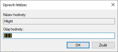 ...pak je třeba upravit řetězec registru Hilight na 0 0 0!