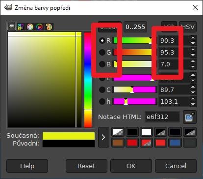 RGB hodnoty konkrétní barvy a odstínu najdeme v Paletě barev rozličných grafických editorů