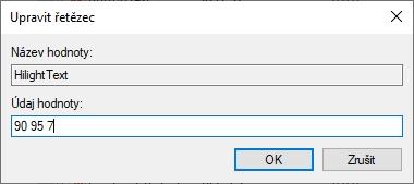Odečtené RGB hodnoty vepíšeme do Údaje hodnoty HilightText s mezerou a v pořadí RGB