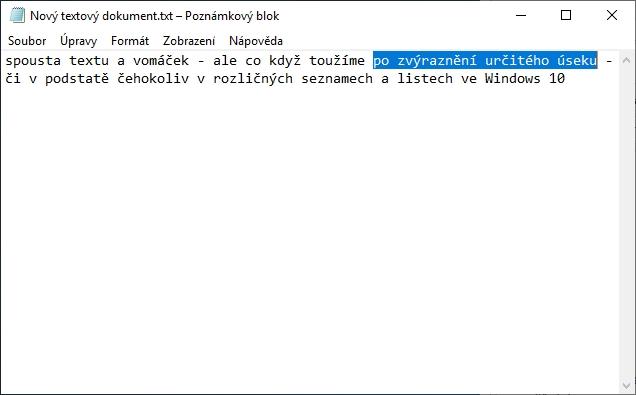 Výchozí podání barev textu a pozadí textu při zvýraznění v systémových aplikacích