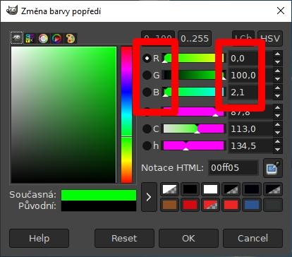 RGB hodnoty konkrétní barvy a odstínu najdeme v Paletě barev rozličných grafických editorů - třeba v GIMPu