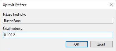 Odečtené RGB hodnoty vepíšeme do Údaje hodnoty ButtonFace s mezerou a v pořadí RGB