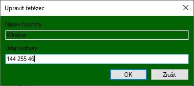 Odečtené RGB hodnoty vepíšeme do Údaje hodnoty Window s mezerou a v pořadí RGB