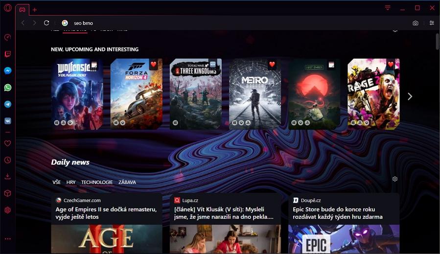 GX Corner a přehled herních zpráv přivítají nové uživatele Opery GX