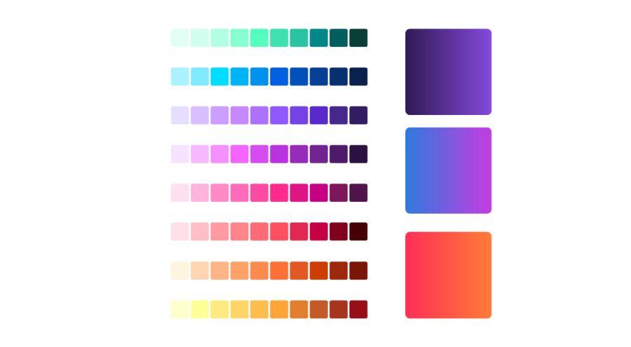Barevné gradienty využité při tvorbě nových ikon značky Firefox (Zdroj: Mozilla.org)