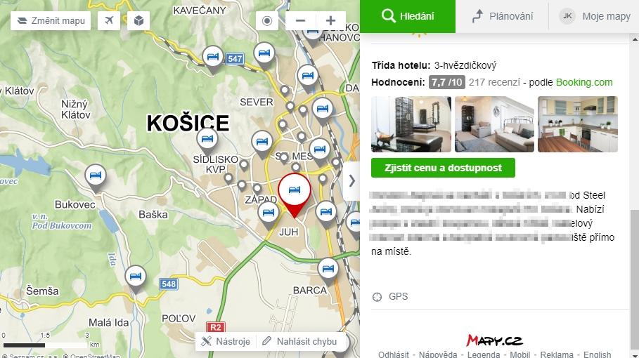Mapy.cz implementují náhledy od Booking.com - odkazy jsou zatím s affiliate ID, ale to jistě brzo zmizí (Mapy.cz)