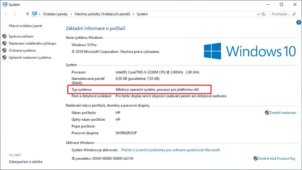 K informaci o typu systému Windows se dostaneme buď přes kontextovou nabídku ikony Tento počítač nebo přes Ovládací panely