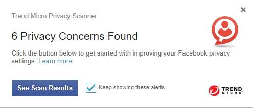 Upozornění Privacy Scanner injektované přímo na zeď Facebooku