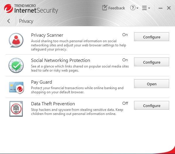 Trend Micro Internet Security: nástroje skupiny Privacy