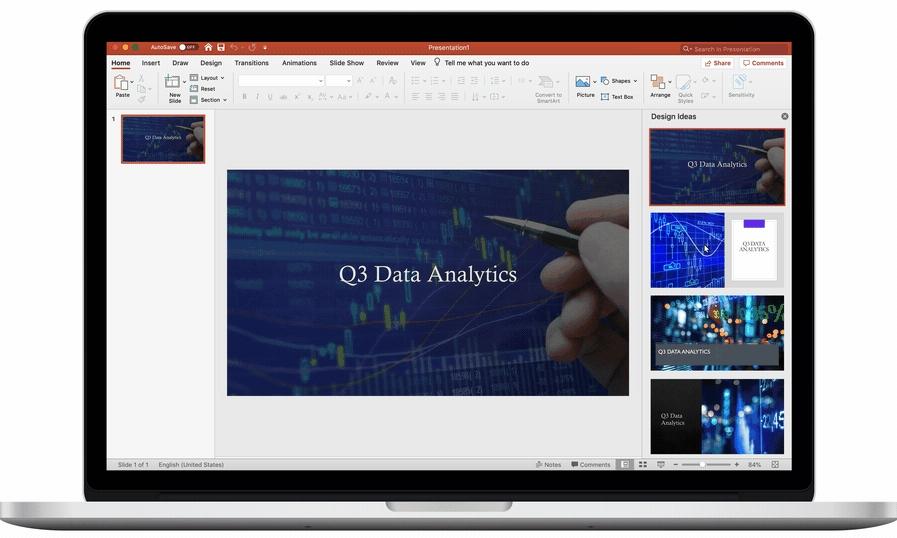 Hned po napsání názvu Designér dá možnost vybrat některé z odpovídajících vizuálních témat (Zdroj: Microsoft.com)