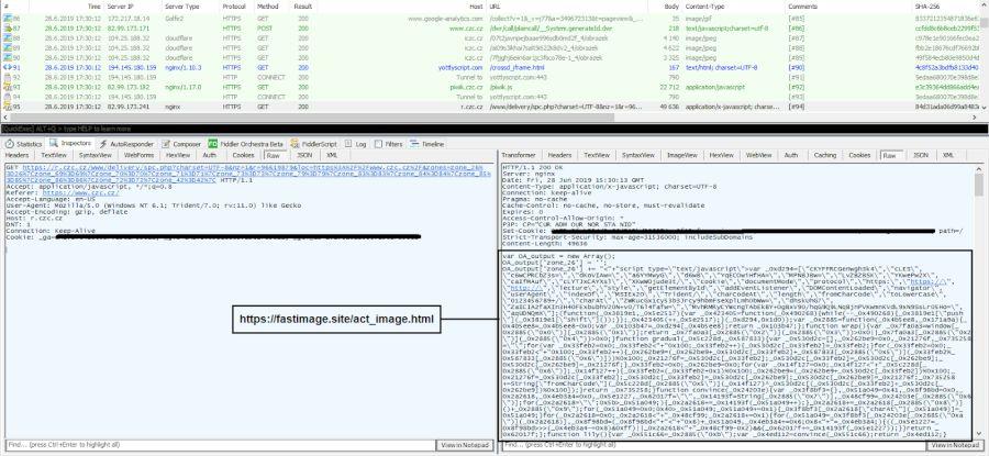Zákeřný kód na webu CZC.cz (Zdroj: Avast.com)