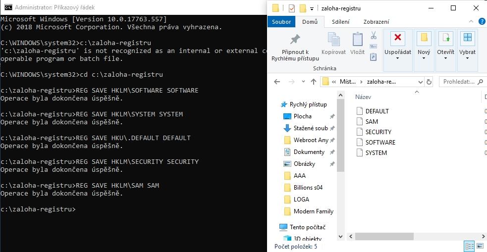 Jednotlivé příkazy zálohy registru vytvoří odpovídající soubory podkategorií systémového registru Windows
