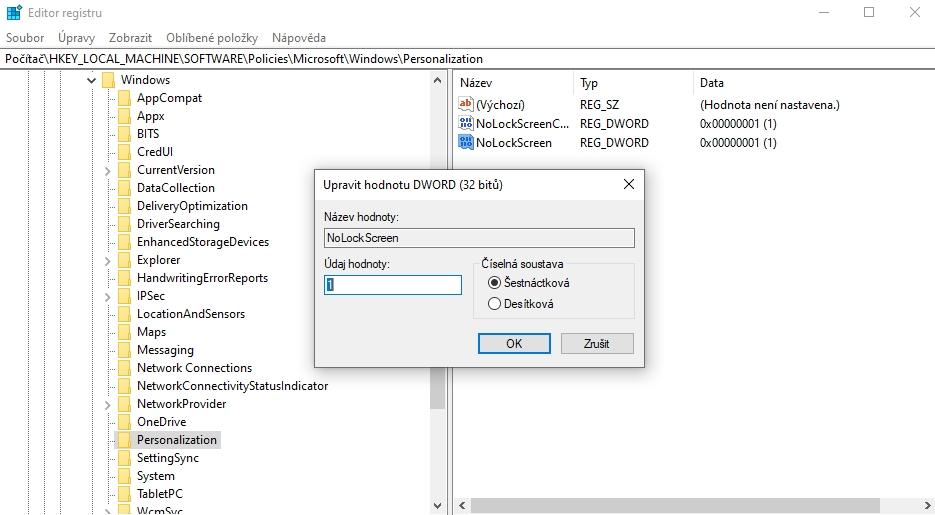 WIN + R - regedit - HKEY_LOCAL_MACHINE\SOFTWARE\Policies\Microsoft\Windows\Personalization - NoLockScreen - 1