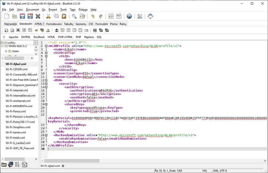 Struktura zálohovaného XML souboru Wi-Fi profilu
