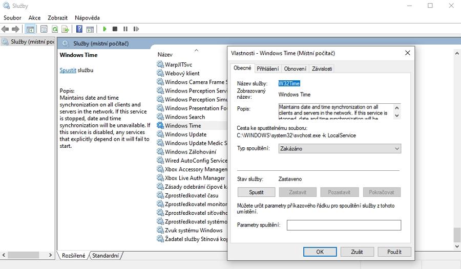 Tento počítač - Spravovat - Služby a aplikace - Služby - Windows Time - Typ spouštění - Zakázáno - Použít - OK