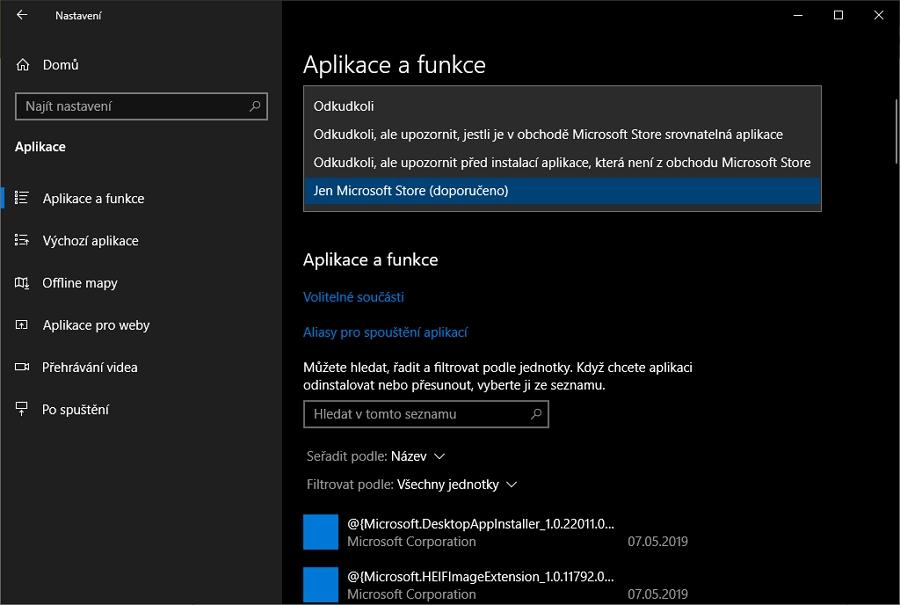 Nastavení - Aplikace - Aplikace a funkce - Zvolte, odkud se mají získávat aplikace - Jen Microsoft Store