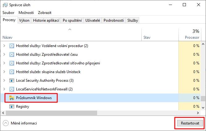 Správce úloh - Procesy - Průzkumník Windows - Restartovat