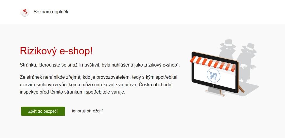 České domény provozované pofiderními eshopy hlásí Seznamu Česká obchodní inspekce (Zdroj: Prohlížeč Seznam)