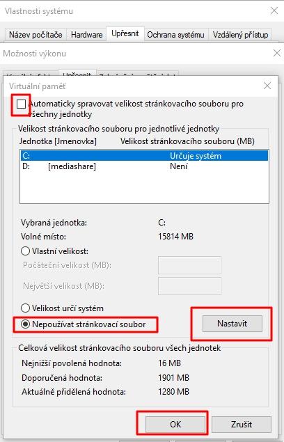 Tento počítač - Vlastnosti - Upřesnit nastavení systému Windows - Vlastnosti systému - karta Upřesnit - Výkon - Nastavení - Možnosti výkonu - karta Upřesnit - Virtuální paměť - Změnit