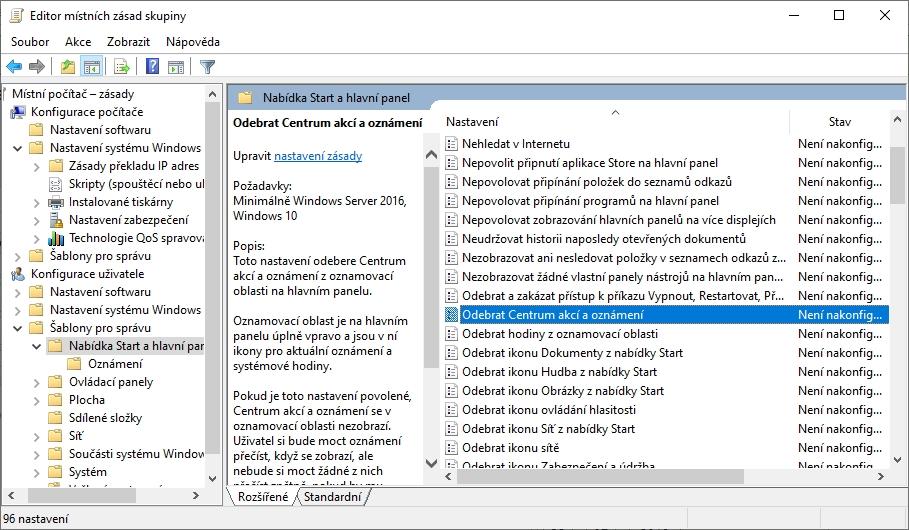 WIN+R - gpedit.msc - Konfigurace počítače - Konfigurace uživatele - Šablony pro správu - Odebrat Centrum akcí a oznámení - OK - odhlásit se a znovu přihlásit k uživatelskému účtu