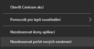 V kontextovém menu Centra akcí se skrývá položka Nezobrazovat počet nových oznámení, po jejíž aktivace se přestane zobrazovat počet nových událostí na ikoně Centra akcí