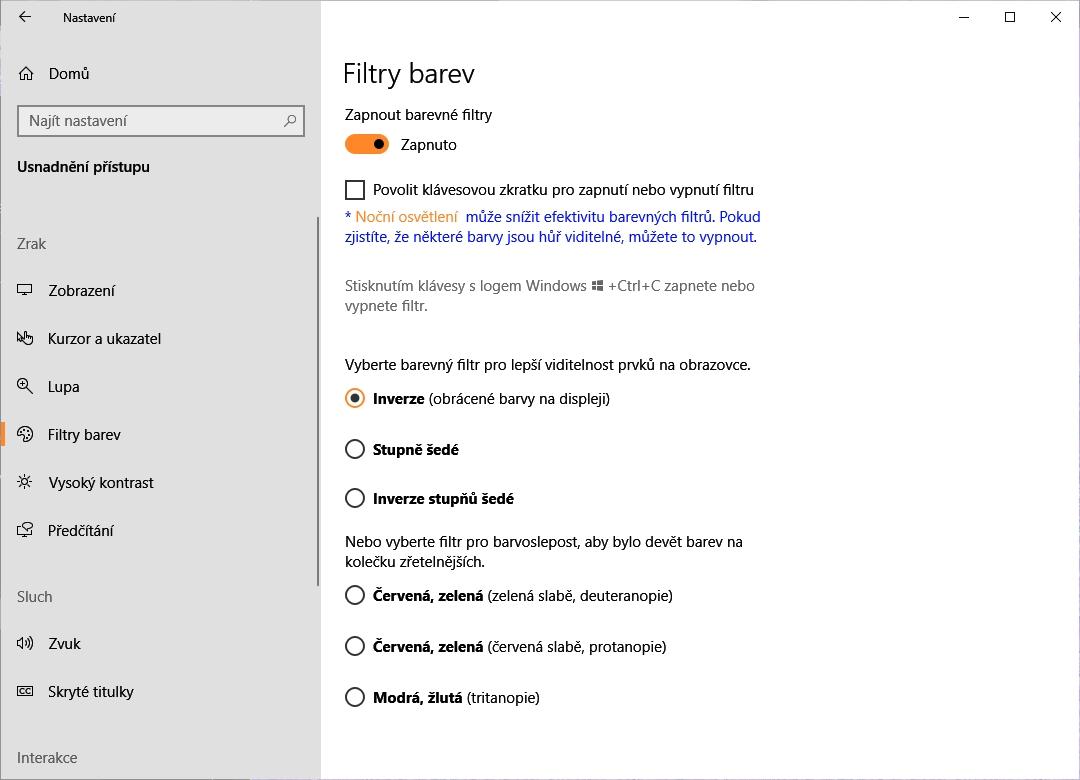 Postupujeme Nastavení - Usnadnění přístupu - Filtry barev - Použít barevné filtry - Zapnuto (konfigurace Filtrů barev v barevném filtru Inverze)