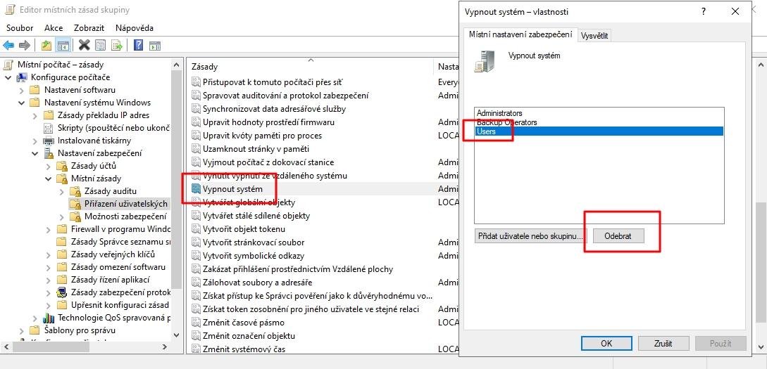 Navigujeme Konfigurace počítače - Nastavení systému Windows - Nastavení zabezpečení - Místní zásady - Přiřazení uživatelských práv - Vypnout systém - odereme skupinu - potvrdíme Použít a OK