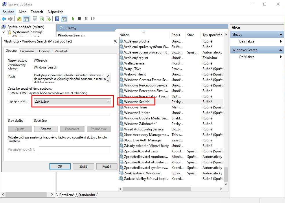 Navigujeme Tento počítač - Spravovat - Správa počítače - Služby a aplikace - Služby - Windows Search - Zastavit - Typ spouštění: Zakázáno - Použít - OK
