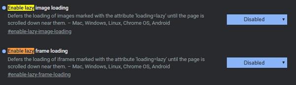 Výsek nastavení Chrome 76 týkající se lazy loading obrázků a iframes