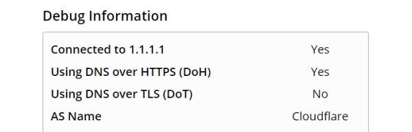 DNS-over-HTTPS: ověření funkčnosti na webu Cloudfare (Zdroj: 1.1.1.1)