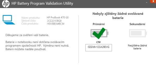 Vyhodnocení v systému přítomného akumulátoru pomocí HP Battery Program Validation Utility (Zdroj: HP.com)