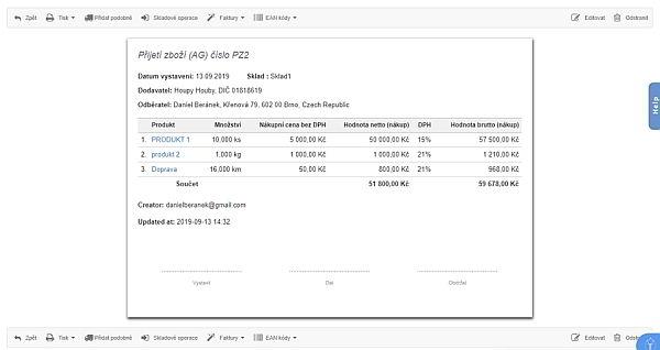 Příjemka zboží skladové evidence v BitFakturě