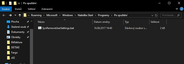 Položky po spuštění najdeme v systémovém umístění C:\Users\[uživatelské jméno]\AppData\Roaming\Microsoft\Windows\Start Menu\Programs\Startup