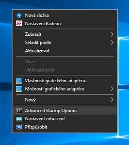 Pokročilé možnosti spouštění Windows 10 v kontextovém menu